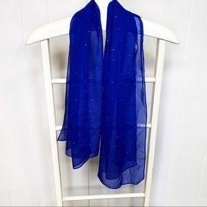 St John blue silk scarf wrap gold gems jewels dots